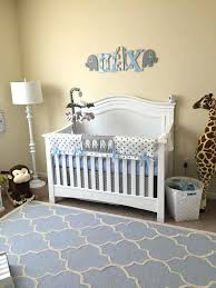 Elephant Nursery Decor Items Jungle Animal Theme With Grey Crib