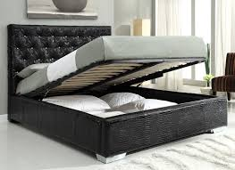 Storage Beds Michelle Crocodile Pattern Upholstered Storage Bed Black At