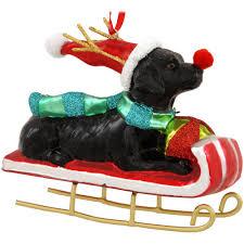 black lab on sled glass ornament 16 99 labrador retriever