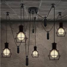 discount loft industrial style iron cages pendant light bar