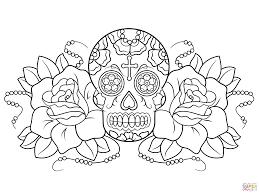 printable coloring pages sugar skulls sugar skulls and roses coloring pages colouring for tiny american