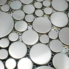 metal mosaics stainless steel tile rounds kitchen backsplash