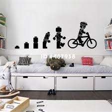 online buy wholesale lego wallpaper from china lego wallpaper evolution of the cycling lego man wall art sticker childrens vinyl mural nursery home decor mural