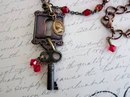 vintage key necklace images Skeleton key necklace with keyhole vintage rosary beads jpg