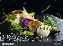 haute cuisine haute cuisine gourmet food scallops asparagus stock photo