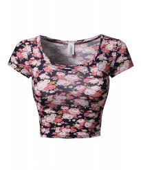 women u0027s floral prints lightweight cap sleeve crop top
