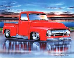 ford 1954 truck 1954 ford f100 rod truck print 11x14 54 parry