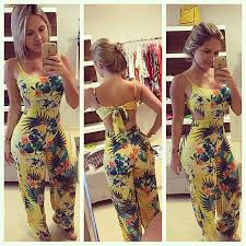 cheap jumpsuits and rompers cheap casual tropical floral printed yellow jumpsuits spaghetti