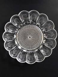 glass egg plate vintage deviled egg plate hobnail clear glass dish tray serving