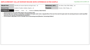 Resume Worker Brewery Cellar Worker Resume Sample