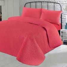 Solid Pink Comforter Twin Luxury Soft Plain Dyed Polycotton Quilted Bedspread Bed Quilt