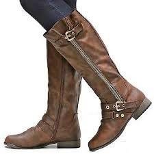 s boots knee high brown fch6 brown gold zipper buckle knee high boots 5 5