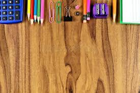Wooden Desk Background Supplies Top Border On Wood Desk Background Stock Photo