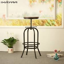 online get cheap commercial dining chairs aliexpress com ikayaa industrial style bar stool height adjustable swivel bar stool natural pinewood top kitchen dining chair