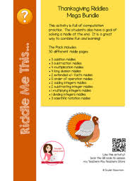 thanksgiving math riddles mega bundle save 52 by snyder classroom