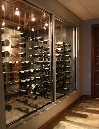 Home Wine Cellar Design Uk by Hallway View Of Glass Enclosed Cable Wine System Custom Wine