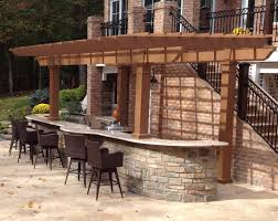 outdoor kitchen bar stools menards patio chairs grey concrete l shaped outdoor kitchen brick