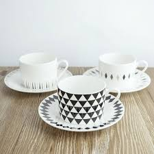 1 set 250ml modern black geometry bone china coffee cup set
