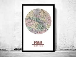 World Map Posters by Paris City Poster City Map Poster Print On Storenvy