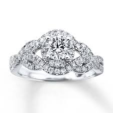 Diamond Wedding Rings by Kay Diamond Engagement Ring 1 Ct Tw Round Cut 14k White Gold