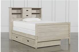 Bookcase Bed Full Owen Grey Full Panel Bed W Trundle Storage Living Spaces
