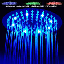Ceiling Mounted Rain Shower by Multi Color Changing Stylish Solid Brass Shower Head Oil Rubbed