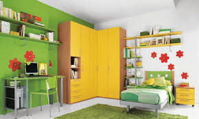 Yellow Green White Bedroom Cool Floral And Yellow Kids Bedroom Appiled On The Red Wall It
