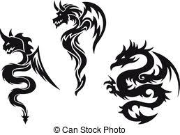 tattoo tribal dragon vector set iconic dragons border vector