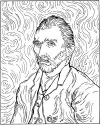 van gogh autoportrait art coloring pages for kids to print u0026 color
