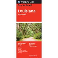 map of baton rand mcnally easy to read state folded map louisiana