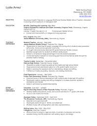 Education Resume Resume For Teaching Position Examples