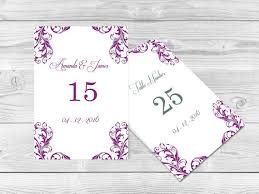 wedding table numbers template wedding table numbers template 4x6 elegant orchid purple damask