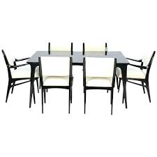 savor modern round extendable black lacquer dining table black