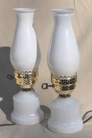 vintage hobnail milk glass vanity table lamps w pink roses