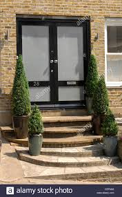 Potted Topiary Trees Double Glass And Black Front Doto A Brick House With Steps Up To