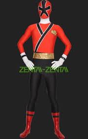 power ranger samurai megazord red black spandex lycra catsuit