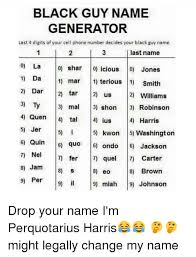 Meme Name Generator - black guy name generator last 4 digits of your cell phone number
