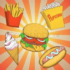 illustration cuisine set with fast food meals vector illustration hamburger