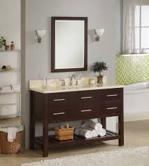 Open Shelf Bathroom Vanities 48 Inch Single Sink Modern Cherry Bathroom Vanity With Open Shelf