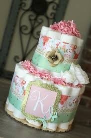 Shabby Chic Baby Shower Cakes by 2 Tier Girls Pink Mint Coral Gold Shabby Chic Diaper Cake
