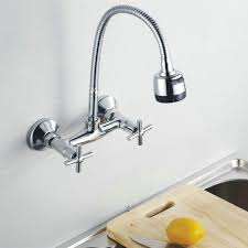 wall mount kitchen faucet with spray kitchen faucet chromed polished brass basin mixer tap 360 swivel