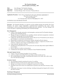 Store Manager Job Resume by Retail Store Job Description For Resume Resume For Your Job