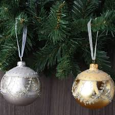 set of 6 luxury glitter european glass ornaments robertson