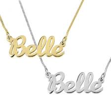 gold necklace with name in cursive name necklace