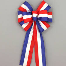 white and blue bows patriotic stripe bow 4th of july decoration white blue