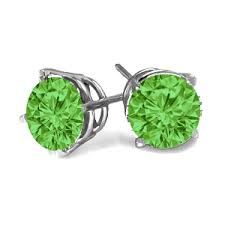 green stud earrings 1 carats green diamond earrings in 14k white or yellow gold