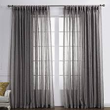 two panels curtain country solid living room linen polyester