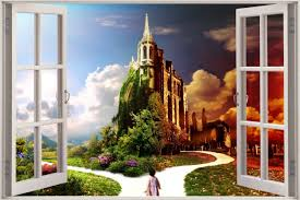 23 forest wall mural decal 3d window view enchanted forest wall view enchanted castle in forest wall sticker decal wall mural ebay