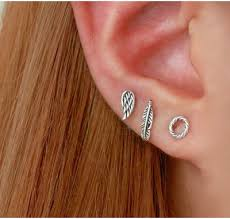 feather stud earrings boho j co jewelry