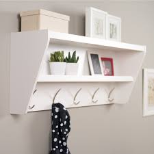 white wall entryway coat rack with two tiers shelf for plants and